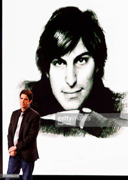 Siri Inc cofounder and formerly a director of engineering in the iPhone group at Apple Adam Cheyer is seen next to young Steve Jobs portrait during...