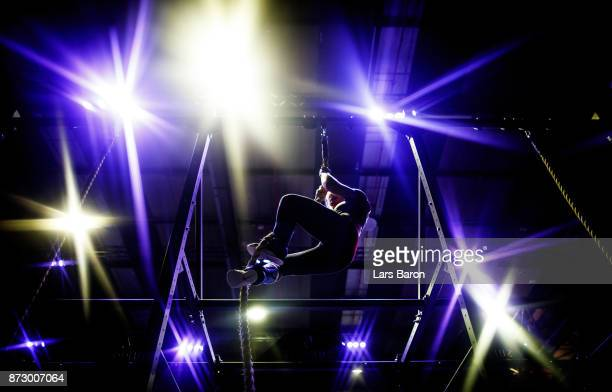 Siri Rohmesmo of CrossFit Kapellen climbs up the rope during day one of the German Throwdown 2017 at Halle 45 on November 11 2017 in Mainz Germany