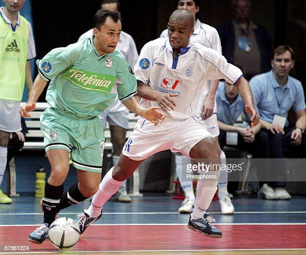 Sirilo of Dinamo Moscow competes against Markinio of Boomerang Interviu FS during UEFA Futsal Cup final on May 7 2006 in Moscow Russia