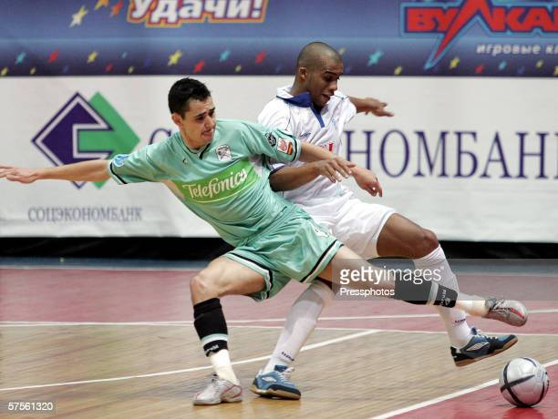 Sirilo of Dinamo Moscow competes against Neto of Boomerang Interviu FS during UEFA Futsal Cup final on May 7 2006 in Moscow Russia