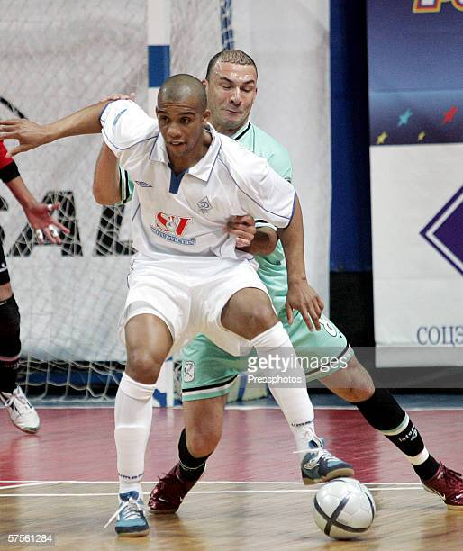 Sirilo of Dinamo Moscow competes against Schumacher of Boomerang Interviu FS during UEFA Futsal Cup final on May 7 2006 in Moscow Russia