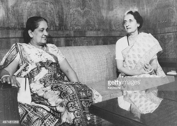 Sirimavo Bandaranaike Prime Minister of Ceylon with Indian Prime Minister Indira Gandhi at Parliament House India April 14th 1976