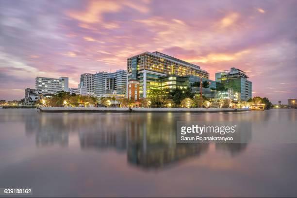 Siriraj Hospital during sunset, Bangkok, Thailand