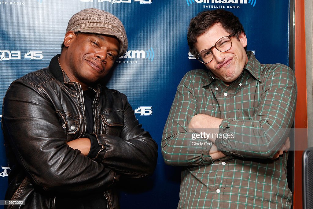 """Sirius XM host <a gi-track='captionPersonalityLinkClicked' href=/galleries/search?phrase=Sway+Calloway&family=editorial&specificpeople=214641 ng-click='$event.stopPropagation()'>Sway Calloway</a> poses with actor <a gi-track='captionPersonalityLinkClicked' href=/galleries/search?phrase=Andy+Samberg&family=editorial&specificpeople=595651 ng-click='$event.stopPropagation()'>Andy Samberg</a> after his visit to """"Sway in the Morning"""" on Eminem's Shade 45 channel at the SiriusXM Studio on June 8, 2012 in New York City."""