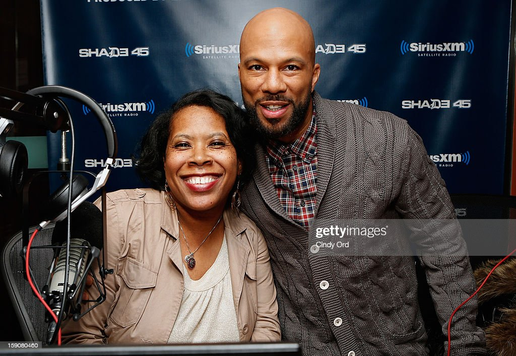SiriusXM co host Heather B. poses with rapper/ actor Common during his visit to 'Sway in the Morning' on Eminem's Shade 45 channel at the SiriusXM Studios on January 7, 2013 in New York City.