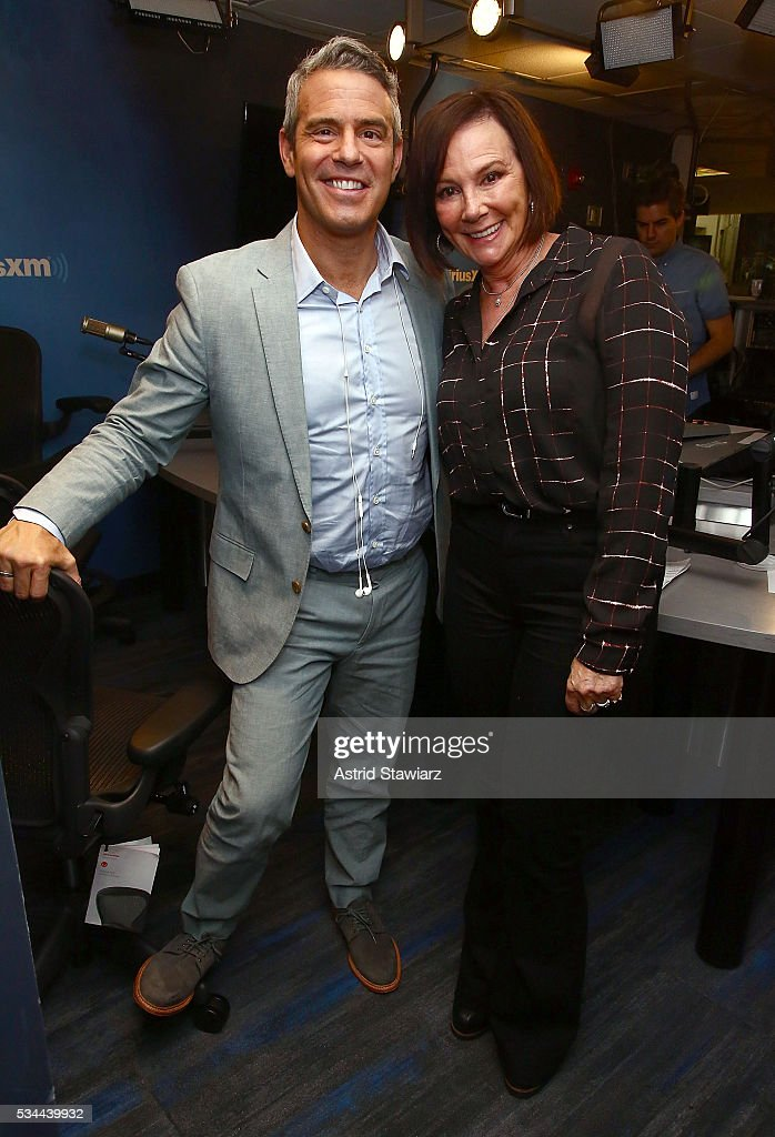SiriusXM host Andy Cohen poses for photos with prosecutor and author <a gi-track='captionPersonalityLinkClicked' href=/galleries/search?phrase=Marcia+Clark&family=editorial&specificpeople=1540027 ng-click='$event.stopPropagation()'>Marcia Clark</a> for a taping of SiriusXM channel 'Radio Andy' the SiriusXM Studios on May 26, 2016 in New York City.