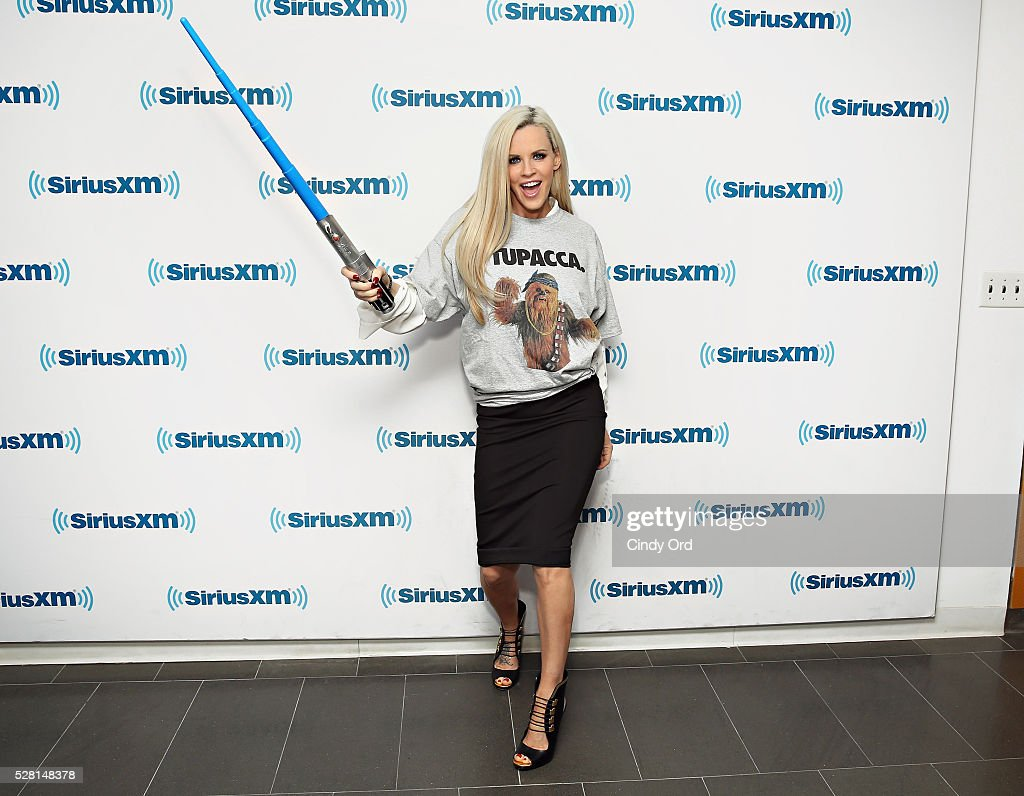 SiriusXM host <a gi-track='captionPersonalityLinkClicked' href=/galleries/search?phrase=Jenny+McCarthy&family=editorial&specificpeople=202900 ng-click='$event.stopPropagation()'>Jenny McCarthy</a> celebrates 'Star Wars Day: May the 4th be with you' at the SiriusXM Studios on May 04, 2016 in New York, New York.