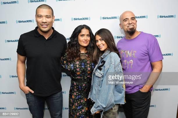 SiriusXM host Michael Yo actress Salma Hayek and SiriusXM hosts Symon and Tony Fly pose for a photo as Salma Hayek visits the SiriusXM Studios on...