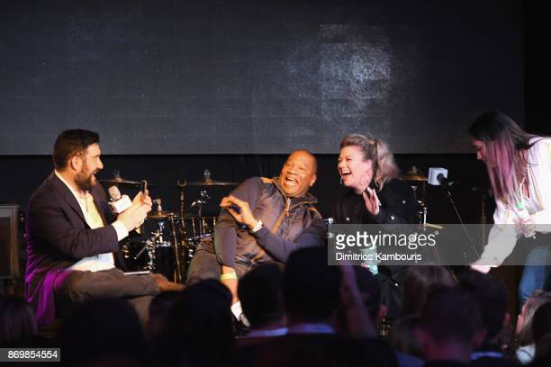 SiriusXM host Ryan Sampson Stanley T Kelly Clarkson and Nicole Ryan speak onstage during Kelly Clarkson's 'Meaning of Life' Album Listening Session...