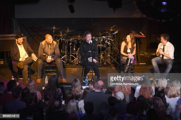 SiriusXM host Ryan Sampson Stanley T Kelly Clarkson Nicole Ryan and Ron Ross speak onstage during Kelly Clarkson's 'Meaning of Life' Album Listening...