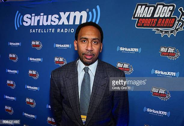 SiriusXM host Stephen A Smith attends SiriusXM at Super Bowl 50 Radio Row at the Moscone Center on February 4 2016 in San Francisco California