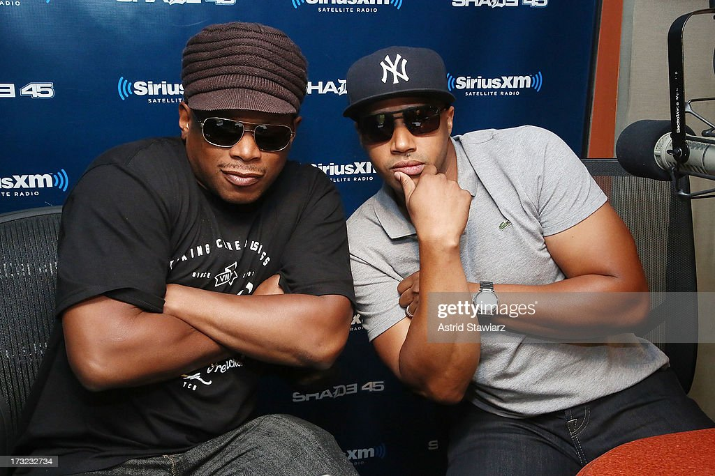 SiriusXM host Sway and actor <a gi-track='captionPersonalityLinkClicked' href=/galleries/search?phrase=Donald+Faison&family=editorial&specificpeople=213042 ng-click='$event.stopPropagation()'>Donald Faison</a> visit 'Sway in the Morning' on Eminem's Shade 45 channel' the SiriusXM Studios on July 10, 2013 in New York City.
