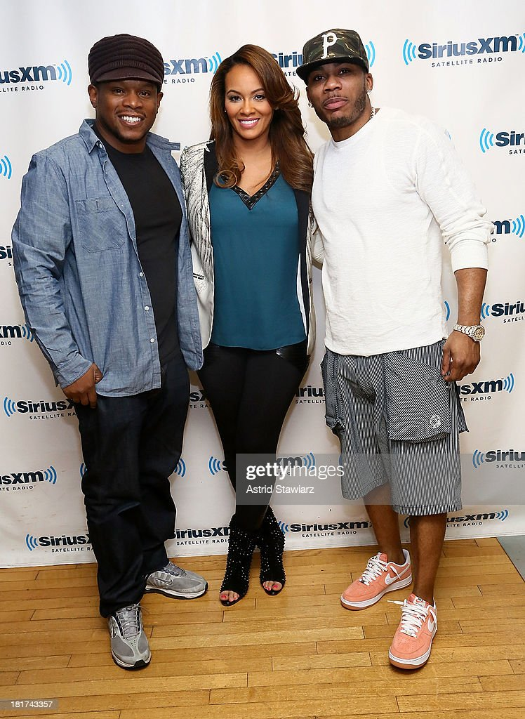 SiriusXM host Sway poses with TV personality <a gi-track='captionPersonalityLinkClicked' href=/galleries/search?phrase=Evelyn+Lozada&family=editorial&specificpeople=6747068 ng-click='$event.stopPropagation()'>Evelyn Lozada</a> and rapper <a gi-track='captionPersonalityLinkClicked' href=/galleries/search?phrase=Nelly+-+Rapper&family=editorial&specificpeople=11499081 ng-click='$event.stopPropagation()'>Nelly</a> at SiriusXM Studios on September 24, 2013 in New York City.