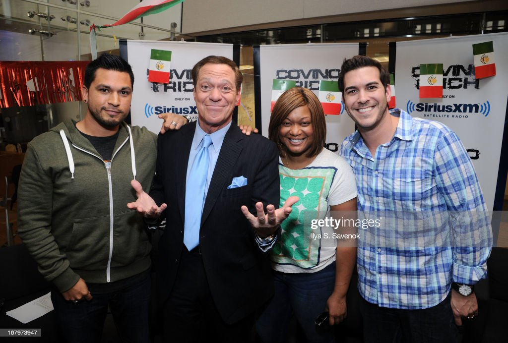 SiriusXM hosts Covino (L) & Rich (R) host their annual Cinco de Mayo Guac-Off with special guests TV personality Sunny Anderson and Joe Piscopo at SiriusXM studios on May 3, 2013 in New York City.