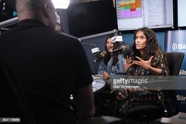 SiriusXM hosts Michael Yo and Symon speak on air with actress Salma Hayek as she visits the SiriusXM Studios on August 17 2017 in Los Angeles...