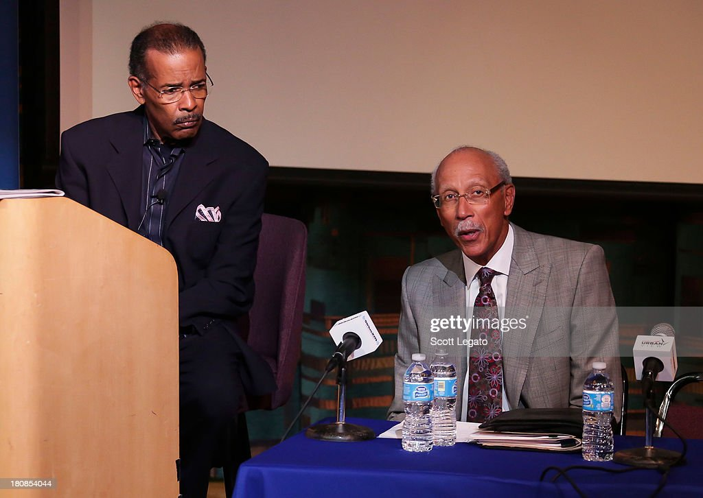 SiriusXM moderator, Joe Madison (L) and Detroit Mayor, Dave Bing speaks at Charles H. Wright Museum of African American History on September 16, 2013 in Detroit, Michigan.