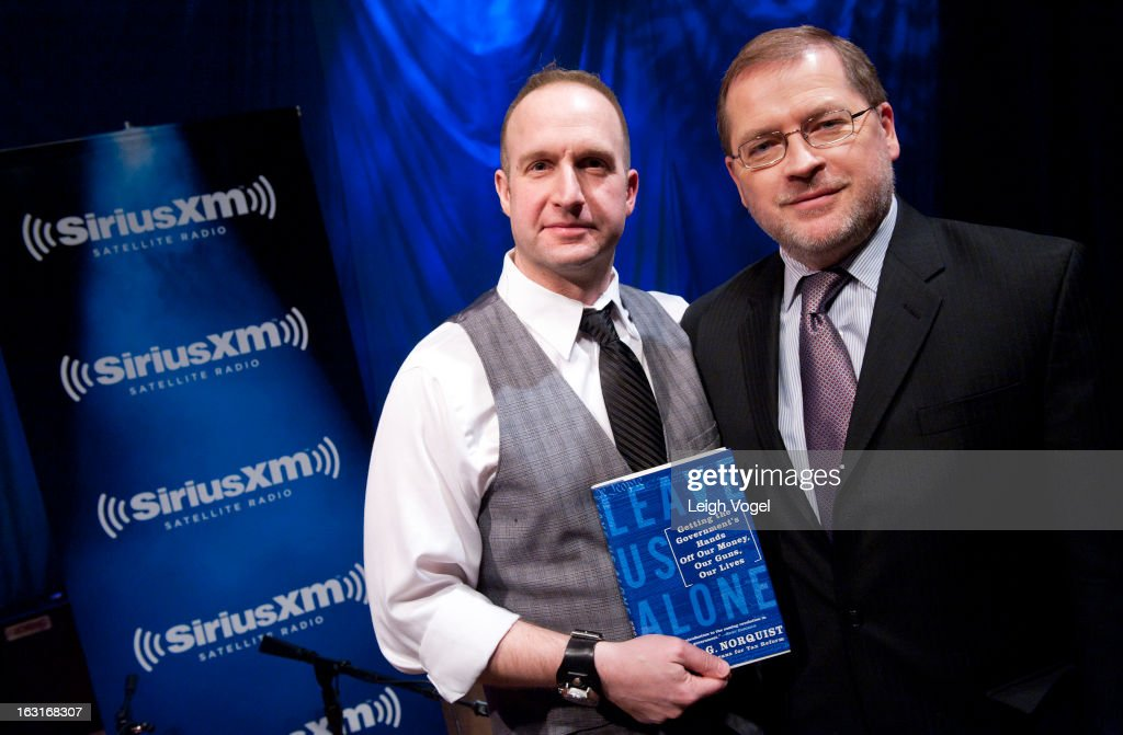 SiriusXM Patriot host Andrew Wilkow interviews Grover Norquist, President, Americans for Tax Reform, at SiriusXM Studio on March 5, 2013 in Washington, DC.
