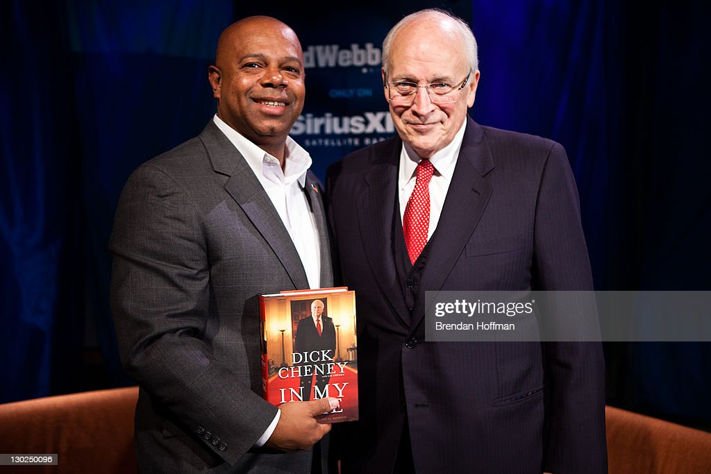 SiriusXM Patriot host David Webb (L) poses for a picture with Former Vice President <a gi-track='captionPersonalityLinkClicked' href=/galleries/search?phrase=Dick+Cheney&family=editorial&specificpeople=125149 ng-click='$event.stopPropagation()'>Dick Cheney</a> after an interview at SiriusXM studios on October 25, 2011 in Washington, DC. Cheney recently released his memoir, 'In My Time.'