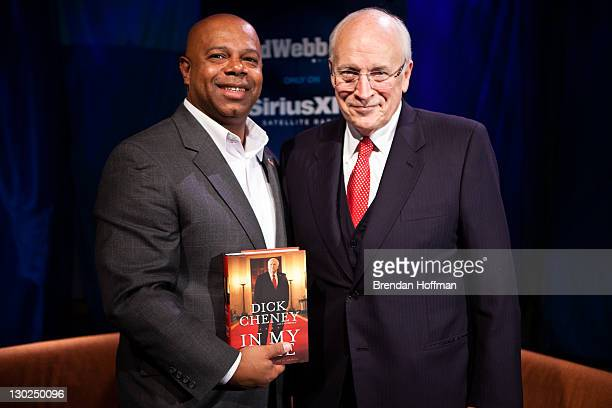 SiriusXM Patriot host David Webb poses for a picture with Former Vice President Dick Cheney after an interview at SiriusXM studios on October 25 2011...