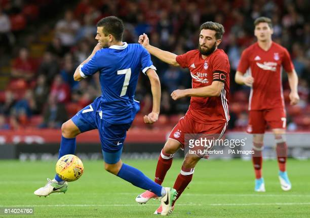 Siroki Brijeg's Dino Coric and Aberdeen's Graeme Shinnie during the UEFA Europa League Second Qualifying Round First Leg match at the Pittodrie...