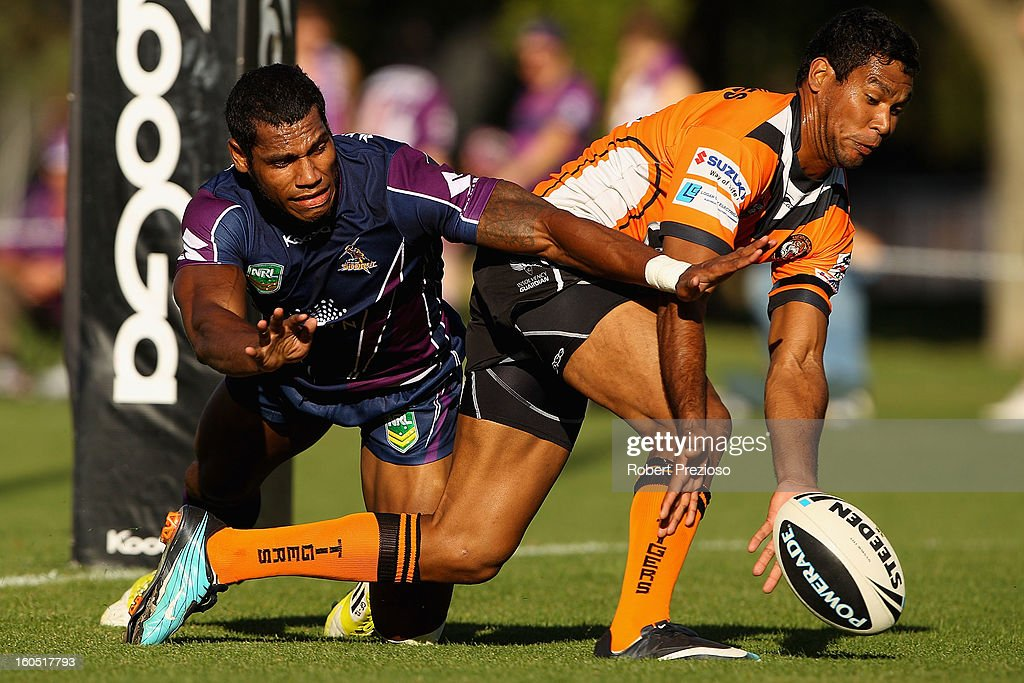 Sisa Waqa of the Storm attempts to score during the NRL trial match between the Melbourne Storm and Brisbane Easts at Gosch's Paddock on February 2, 2013 in Melbourne, Australia.