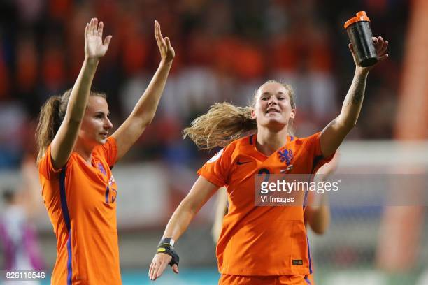Sisca Folkertsma of Holland Women Desiree van Lunteren of Holland Women during the semifinal UEFA WEURO 2017 match between The Netherlands and...