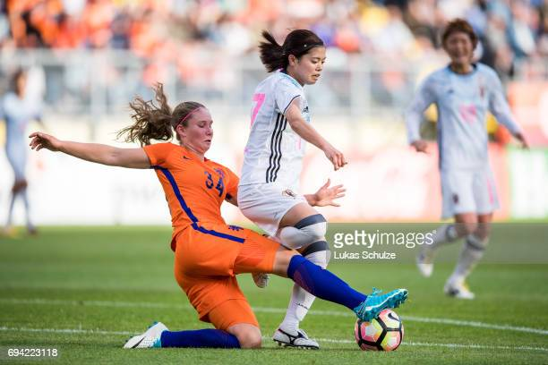 Sisca Folkertsma of Netherlands and Yui Hasegawa of Japan fight for the ballduring the Women's International Friendly match between Netherlands and...
