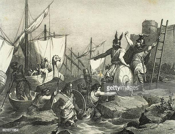 Sisebut King of the Visigoths Sisebut landing in Tangier Engraving in Spain Illustrated History 19th century