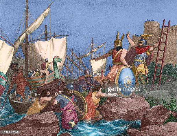 Sisebut King of the Visigoths Sisebut landing in Tangier Engraving in Spain Illustrated History 19th century Colored
