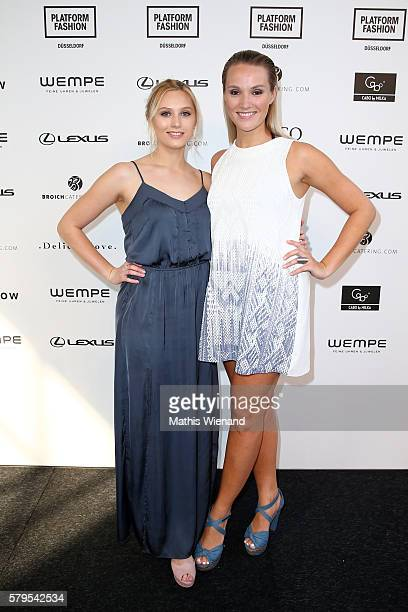 Sissi Hofbauer and Anna Hofbauer attend the Platform Fashion Selected show during Platform Fashion July 2016 at Areal Boehler on July 24 2016 in...
