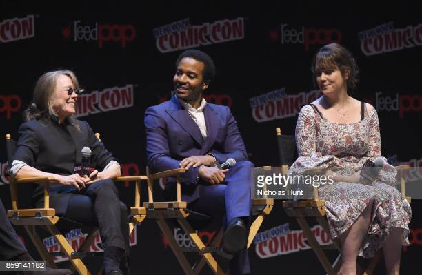 Sissy Spacek Andre Holland and Melanie Lynskey speak onstage at the Castle Rock Panel during the New York Comic Con 2017 on October 8 2017 in New...