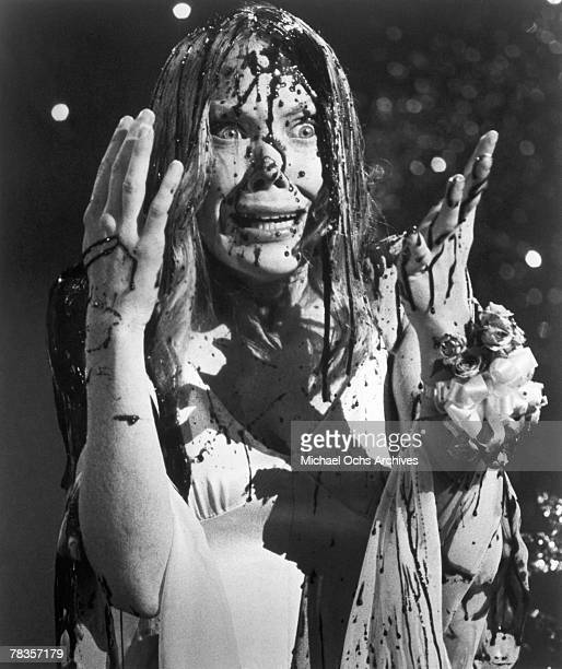 Sissy Spacek attends her high school prom in the Brian De Palma horror classic 'Carrie' based on the Stephen King novel in 1976 in Los Angeles...