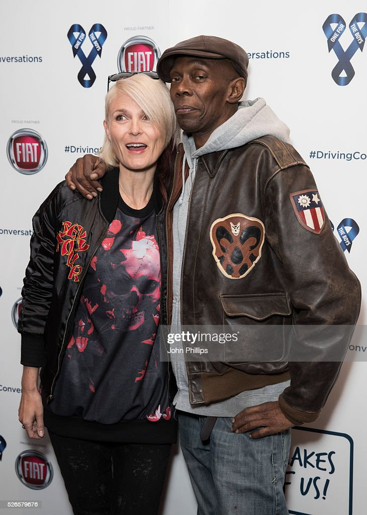 Sister Bliss and Maxi Jazz of Faitheless arrive at the One For The Boys Charity Event Masquerave sponsored by FIAT at the Troxy on April 30, 2016 in London, England.