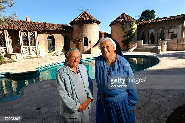 Sister Catherine Rose and Sister Rita Callanan stand outside the Sisters of the Immaculate Heart of Mary Retreat House on June 25 2015 in in Los...