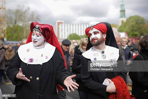 Sister Daphne and Sister Suzette participate the ecumenical Good Friday procession on April 18 2014 in Berlin Germany Under the theme of 'Reformation...