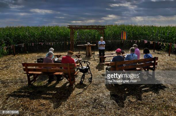 Sister George Ann Biskan leads a group of nuns and supporters during a prayer service at a chapel that's in a cornfield The chapel was built there as...