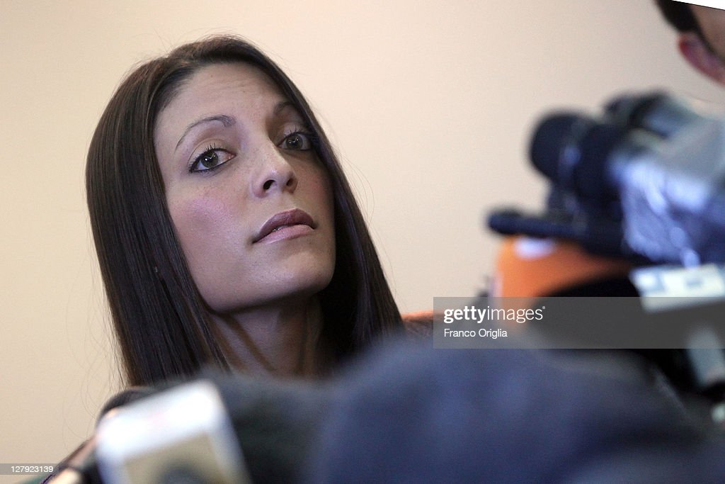 Sister of Meredith Kercher Stephanie speaks during a press conference ahead of the verdict in Amanda Knox and Raffaele Sollecito's appeal of their murder convictions on October 3, 2011 in Perugia, Italy. American student Amanda Knox and her Italian ex-boyfriend Raffaele Sollecito were convicted in 2009 of killing their British roommate Meredith Kercher in Perugia, Italy in 2007. The jury in their appeal is expected to retire to consider their verdict later today. They have served nearly four years in jail after being sentenced to 26 and 25 years respectively.