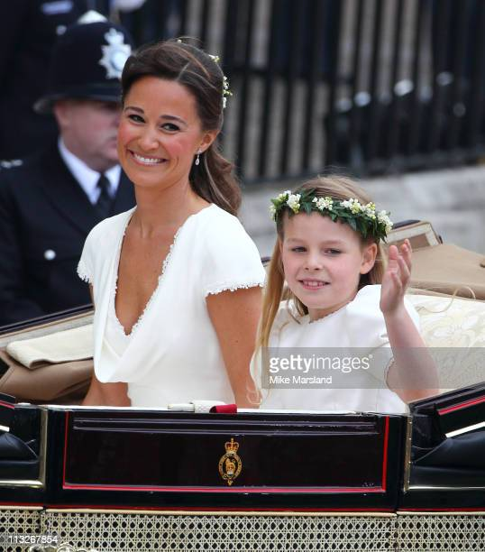 Sister of the Bride and Maid of Honour Pippa Middleton and bridesmaid Margarita ArmstrongJones depart the Royal Wedding of Prince William to...