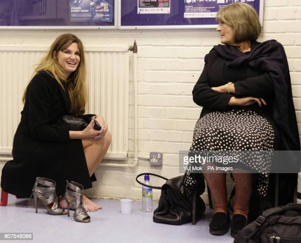 Sister of Zac Goldsmith Jemima Khan and her mother Annabel relax before the results at the General election count for the London Borough of Richmond...