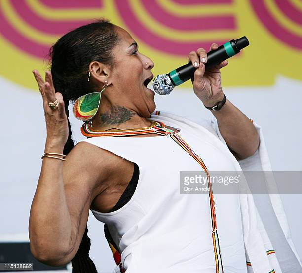 Sister Pat of the Thievery Corporation performs on stage during the Good Vibrations Festival in Centennial Park on February 16 2008 in Sydney...