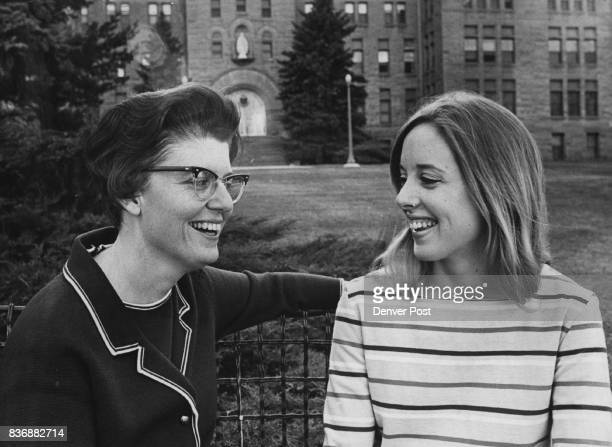 Sister Patricia Jean Manion Loretto president and Linda Cummings Loretto senior through work on president's council have learned to share campus...