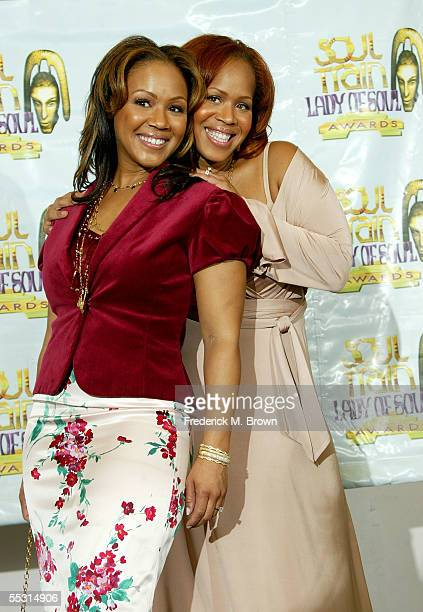 Sister singers Tina Campbell and Erica Campbell of the gospel band Mary Mary pose in the press room at the 10th Annual Soul Train Lady of Soul Awards...