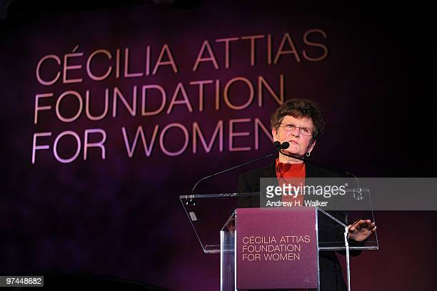 Sister Tesa Fitzgerald speaks at the Inaugural Gala Dinner for the Cecilia Attias Foundation for Women hosted by Cecilia Attias former wife of French...