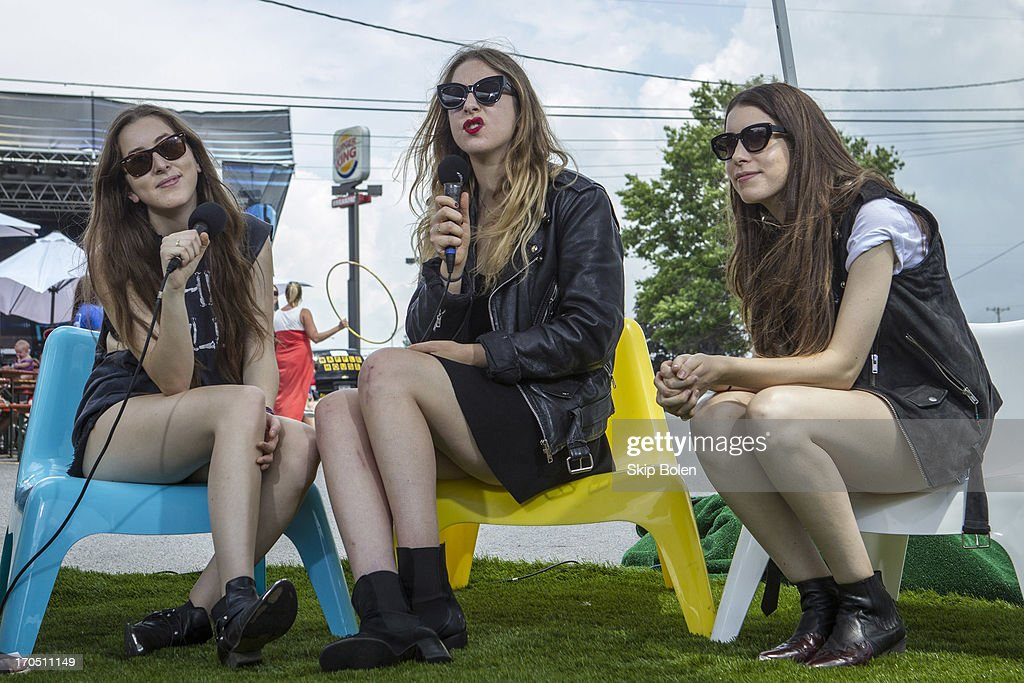 Sisters Alana Haim, Este Haim and Danielle Haim of HAIM at the Fuse News Waffle House during the 2013 Bonnaroo Music & Arts Festival on June 13, 2013 in Manchester, Tennessee.