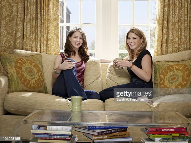Sisters Barbara Pierce Bush and Jenna Bush Hager pose for a portrait session at Jenna's Baltimore home in 2010 ON EMBARGO UNTIL AUGUST 18 2010...
