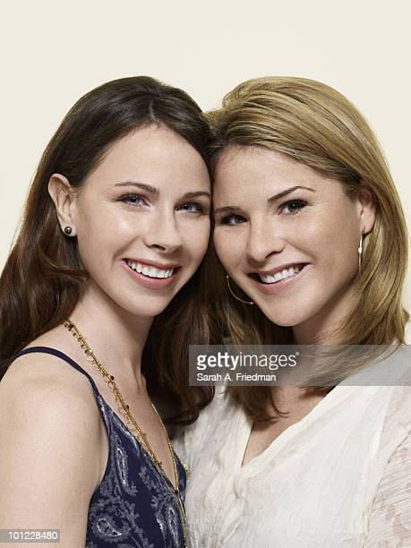 Sisters Barbara Pierce Bush and Jenna Bush Hager pose for a portrait session at Jenna's Baltimore home in 2010 ON EMBARGO UNTIL AUGUST 18 2010