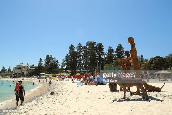 'Sisters' by artist Russell Sheridan is seen at Sculpture By The Sea at Cottesloe Beach on March 6 2015 in Perth Australia