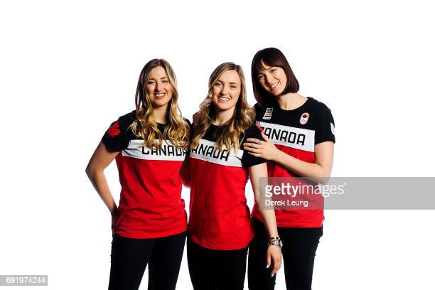 Sisters Chloé Justine and Maxime DufourLapointe poses for a portrait during the Canadian Olympic Committee Portrait Shoot on June 3 2017 in Calgary...