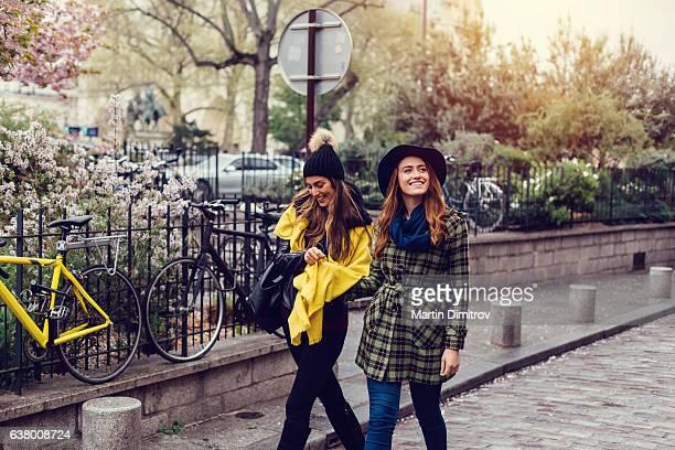 Sisters enjoying Paris during the spring