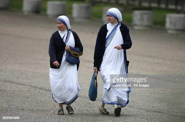 Sisters from the Missionaries of Charity arrive at the Service of Thanksgiving for the life of Diana Princess of Wales at the Guards' Chapel London...